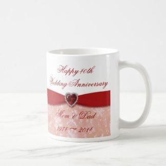 Diseño del aniversario de boda del damasco 40.o taza clásica