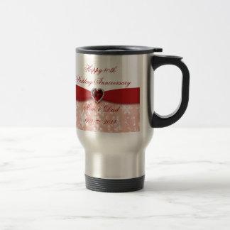Diseño del aniversario de boda del damasco 40.o taza de viaje