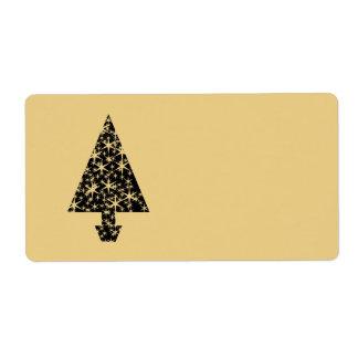 Diseño del árbol de navidad del negro y del color etiqueta de envío
