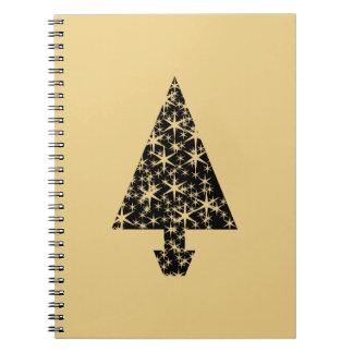 Diseño del árbol de navidad del negro y del color libretas espirales