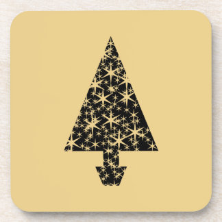 Diseño del árbol de navidad del negro y del color  posavasos de bebidas