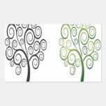 Diseño del árbol de Swirly Etiqueta