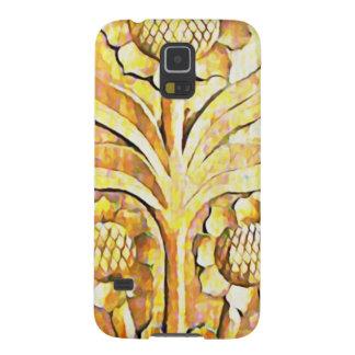 Diseño del árbol floreciente en el color de madera fundas de galaxy s5