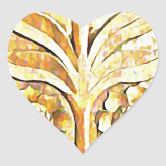 Diseño del árbol floreciente en el color de madera calcomanía corazón personalizadas