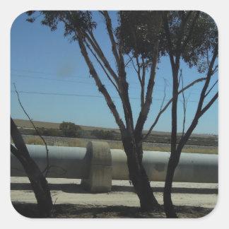 Diseño del árbol y de la tubería pegatina cuadrada
