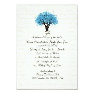"""Diseño del árbol y del texto que casa el azul invitación 5"""" x 7"""""""