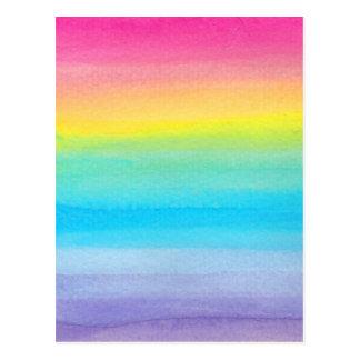 Diseño del arco iris de la acuarela tarjeta postal