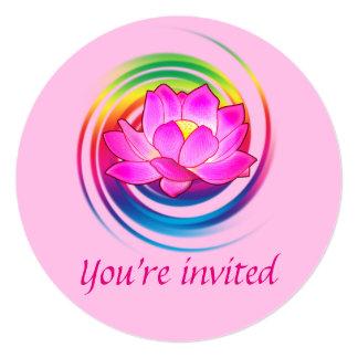 """Diseño del arco iris de la flor de Lotus de la Invitación 5.25"""" X 5.25"""""""