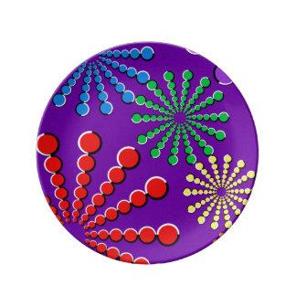 Diseño del arco iris de la ilusión óptica de los f plato de cerámica