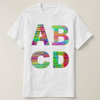 Diseño del arco iris de las letras ABCD Remera