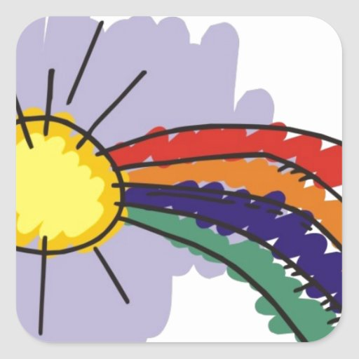 diseño del arco iris de los niños calcomanía cuadradas