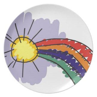 diseño del arco iris de los niños platos