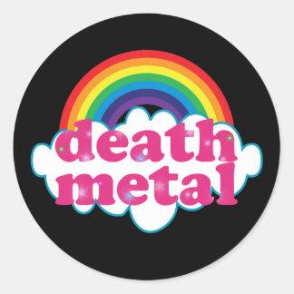 Diseño del arco iris del metal de la muerte pegatina redonda