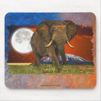 Diseño del arte de la luna del elefante africano y alfombrillas de ratón