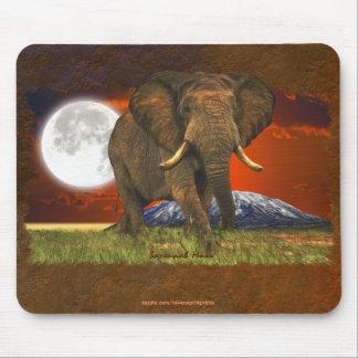 Diseño del arte de la luna del elefante africano y tapetes de ratones