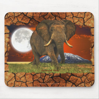 Diseño del arte de la luna del elefante africano y alfombrilla de ratones