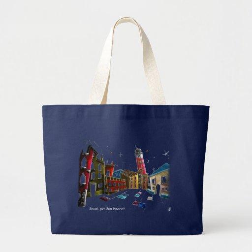 Diseño del arte de Venecia - pinturas y dibujos Bolsa Tela Grande