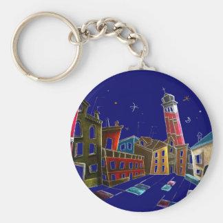 Diseño del arte de Venecia - pinturas y dibujos Llavero Redondo Tipo Pin