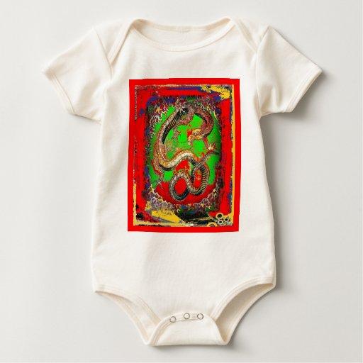 Diseño del arte del DRAGÓN rojo y verde por Body Para Bebé