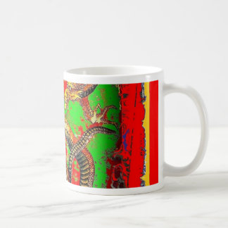 Diseño del arte del DRAGÓN rojo y verde por Taza