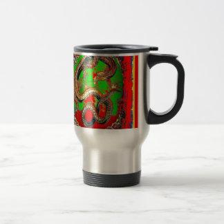 Diseño del arte del DRAGÓN rojo y verde por Taza Térmica