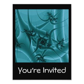 """Diseño del arte del fractal de las azules invitación 4.25"""" x 5.5"""""""