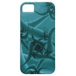 Diseño del arte del fractal de las azules turquesa iPhone 5 carcasas