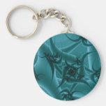Diseño del arte del fractal de las azules turquesa llavero personalizado