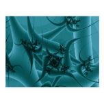 Diseño del arte del fractal de las azules turquesa postal