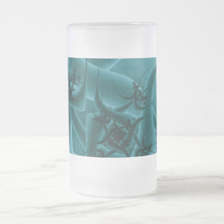 Diseño del arte del fractal de las azules turquesa taza de café