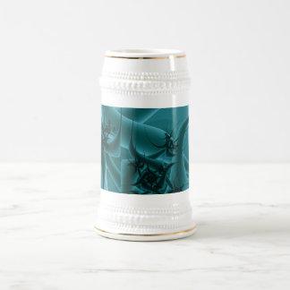 Diseño del arte del fractal de las azules turquesa taza