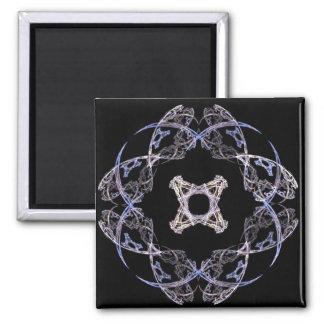 Diseño del arte del fractal de ocho pétalos en azu imán cuadrado
