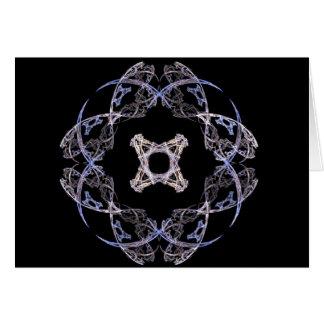 Diseño del arte del fractal de ocho pétalos en azu tarjeta de felicitación
