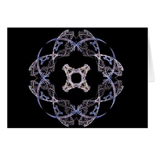 Diseño del arte del fractal de ocho pétalos en azu felicitacion