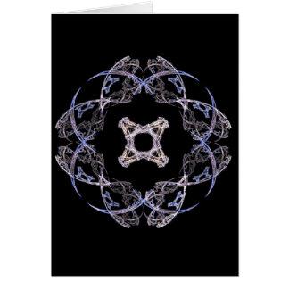 Diseño del arte del fractal de ocho pétalos en azu tarjeta pequeña