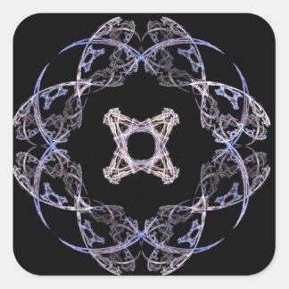 Diseño del arte del fractal de ocho pétalos en pegatina cuadrada