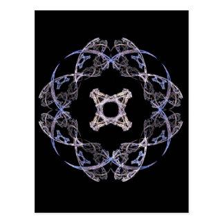 Diseño del arte del fractal de ocho pétalos en tarjeta postal