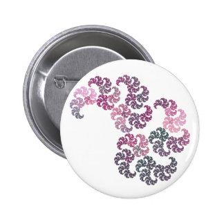 Diseño del arte del fractal de Paisley Pin Redondo De 2 Pulgadas