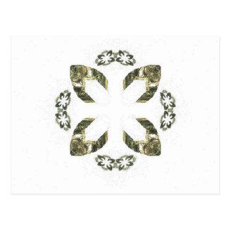 Diseño del arte del fractal del pétalo del verde tarjetas postales