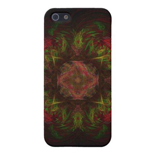 Diseño del arte del fractal del rosa rojo iPhone 5 protector
