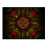 Diseño del arte del fractal del rosa rojo postal