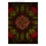 Diseño del arte del fractal del rosa rojo felicitacion