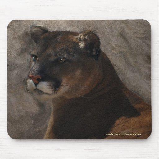 Diseño del arte del gato grande del león de montañ tapete de ratones