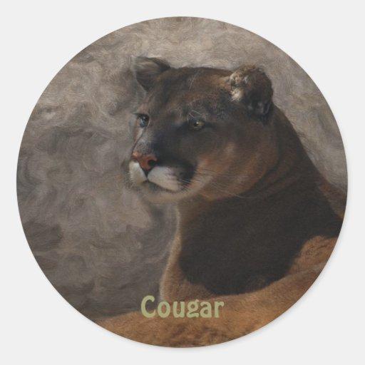 Diseño del arte del gato grande del león de pegatina redonda