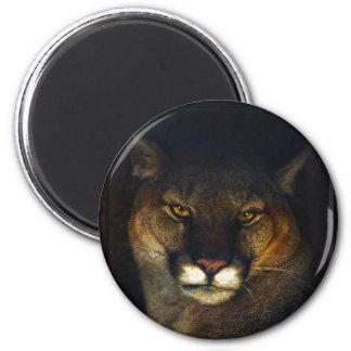 Diseño del arte del león de montaña del puma del imán redondo 5 cm