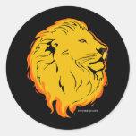 Diseño del arte del león etiqueta redonda