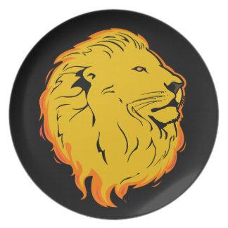 Diseño del arte del león platos para fiestas
