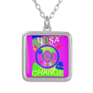 Diseño del arte del monograma del cambio de los colgante cuadrado
