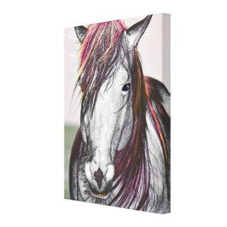 Diseño del arte del pelo del rosa del caballo blan impresiones en lienzo estiradas