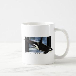 Diseño del arte gráfico de la orca tazas de café